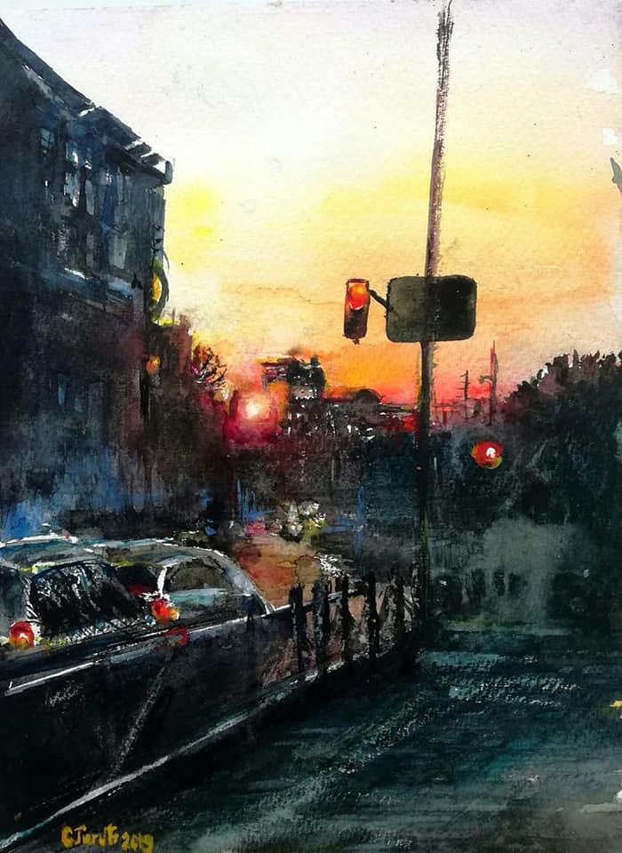 SD street in sunset