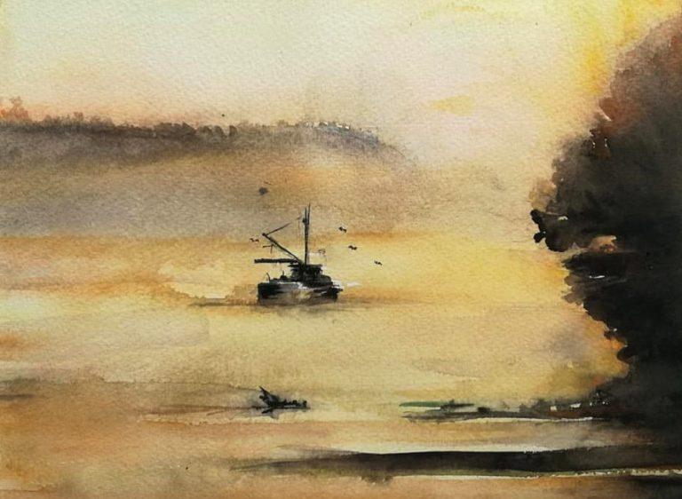 Surise over Zemun Danube